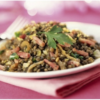Salade de lentilles froides au vinaigre balsamique framboise