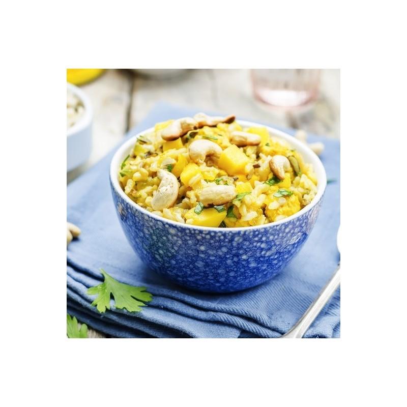 Salade de riz, mangue et noix de cajou