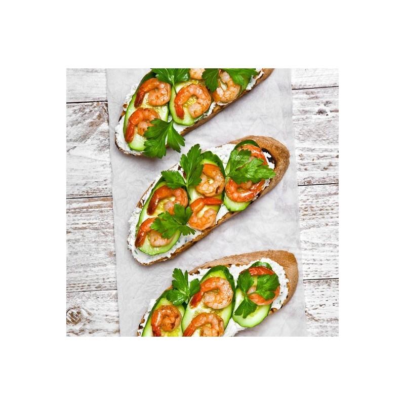 Tartare de concombre et crevettes