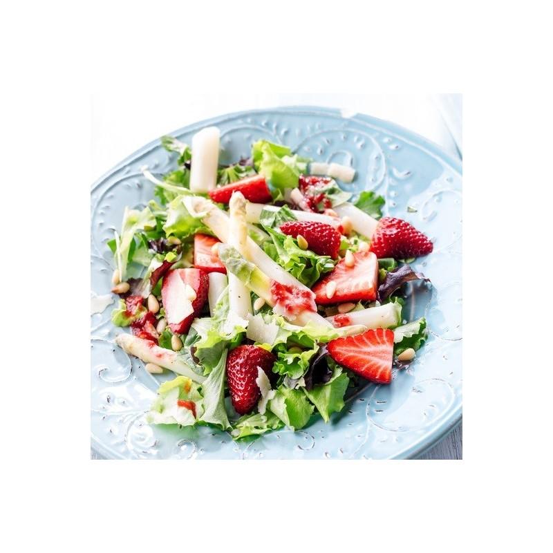Salade asperges, fraises et rhubarbe
