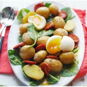 Pommes de terre nouvelles, épinards frais et oeufs pochés en salade