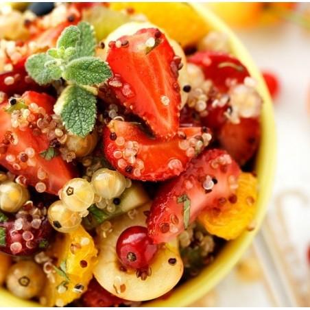 Salade de quinoa aux fruits rouges, citron & miel