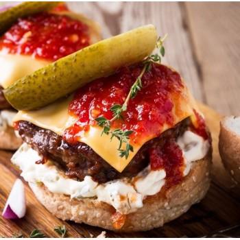 Burger bœuf façon tartare et tomates