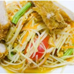 Salade de concombre, papaye et poulet grillé