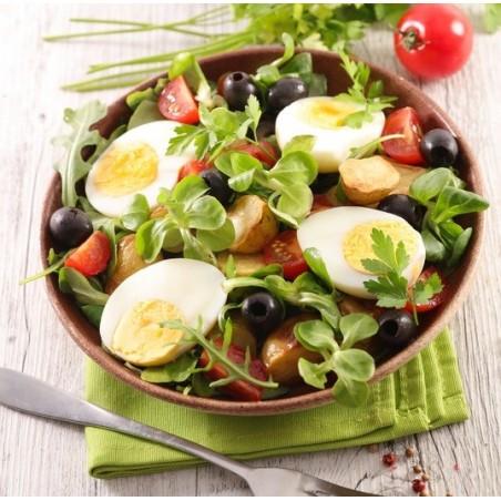 Salade de cresson, pommes de terre et œufs durs
