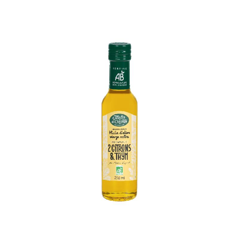 Huile d'olive Bio vierge extra saveur Thym et 2 Citrons