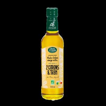 Huile d'olive Bio vierge extra saveur Thym et 2 Citrons Jardin d'Orante